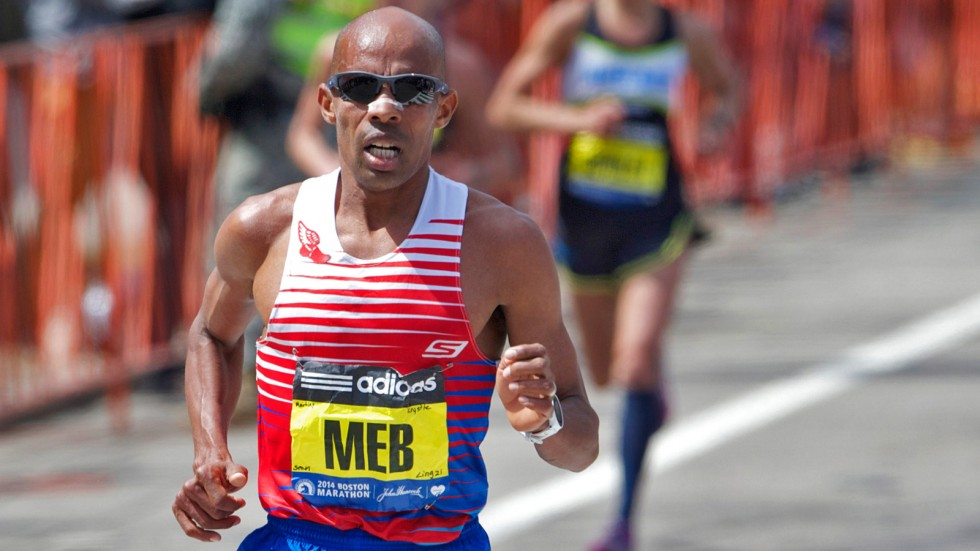 Apr 21, 2014; Boston, MA, USA; Meb Keflezighi competes during the 2014 Boston Marathon. Mandatory Credit: David Butler II-USA TODAY Sports