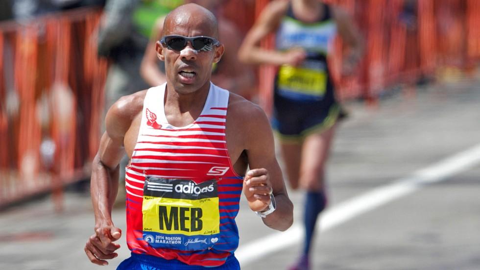 Apr 21, 2014; Boston, MA, USA; Meb Keflezighi competes during the 2014 Boston Marathon. Mandatory Credit: David Butler II-USA TODAY Sports